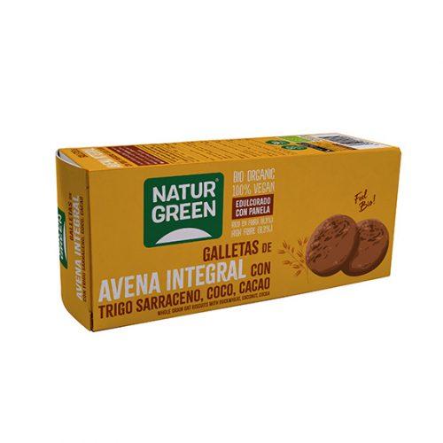 NaturGreen Galleta de Avena Integral con Trigo sarraceno, Coco y Cacao Bio 140 gr