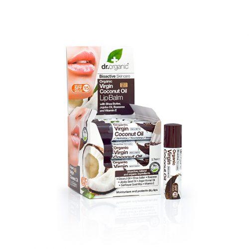 Balsamo Labial de Aceite de Coco Virgen Organico (SPF 15) 16X5,7 ml.