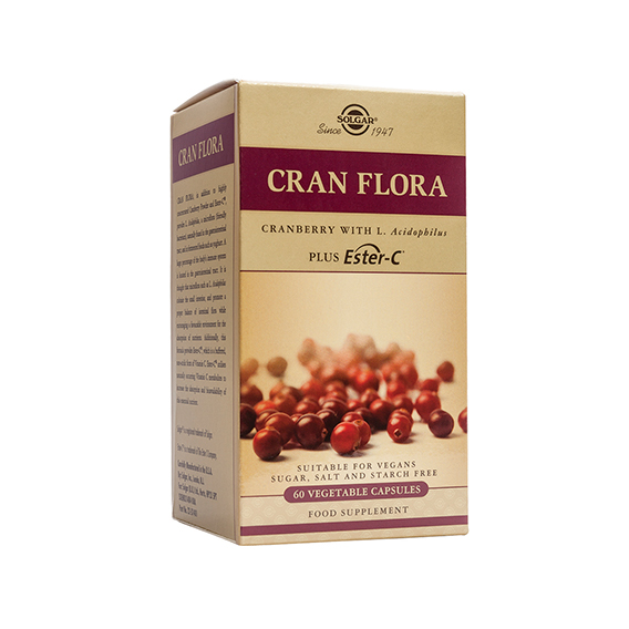 Cran Flora - Arándano Rojo con Probióticos y Ester-C - 60 Cáp.Veg.