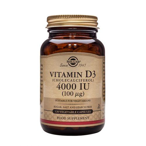 Vitamina D3 Colecalciferol 4000 UI 100 mcg 120 Cápsulas Vegetales