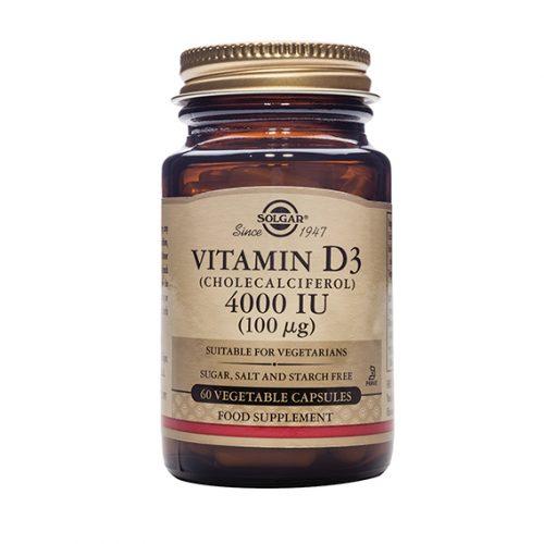 Vitamina D3 Colecalciferol 4000 UI 100 mcg 60 Cápsulas Vegetales