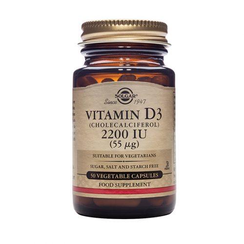 Vitamina D3 Colecalciferol 2200 UI 55 ug 50 Cápsulas Vegetales