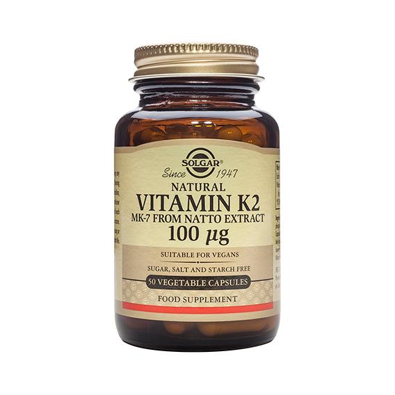Vitamina K2 100 mcg (Menaquinona-7) 50 Cápsulas Vegetales