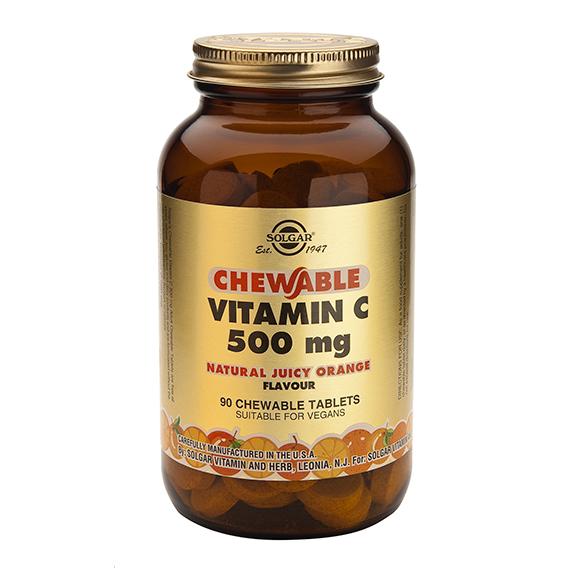 Vitamina C 500 mg Masticables Sabor Naranja 90 Compromidos